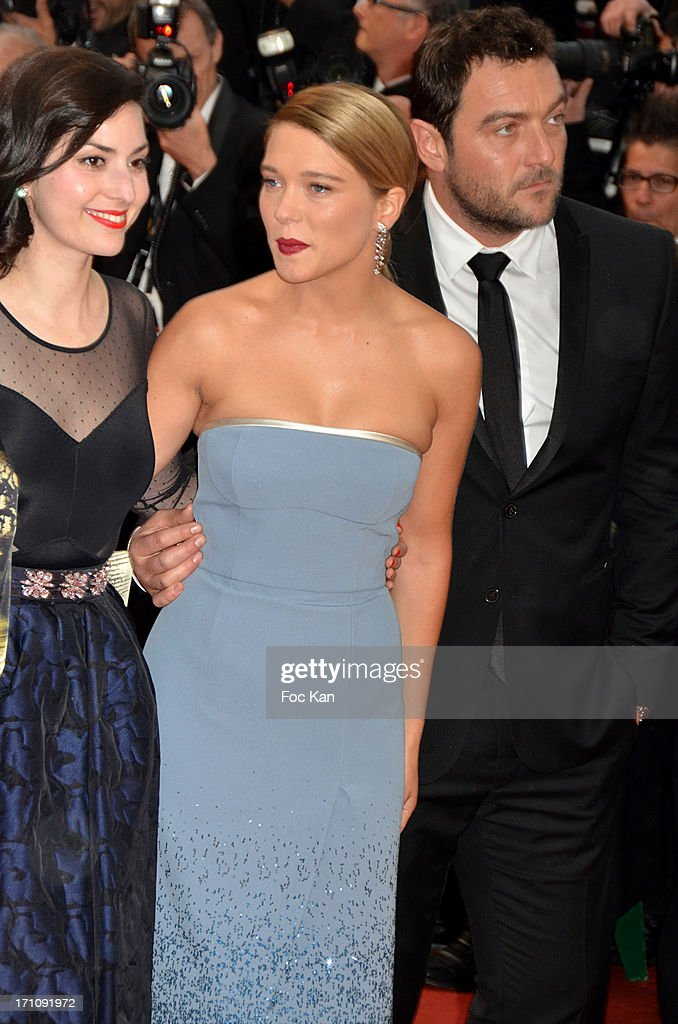Rebecca Zlotowski, Lea Seydoux and Denis Menochet attend the Premiere of 'Jimmy P. (Psychotherapy Of A Plains Indian)' at Palais des Festivals during The 66th Annual Cannes Film Festival on May 18, 2013 in Cannes, France.