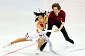 Rebeka Kim and Kirill Minov of Korea skate during the Ice Dance Short Dance on day one of the Rostelecom Cup ISU Grand Prix of Figure Skating 2015 at...