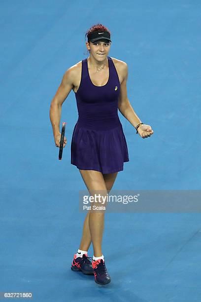 Rebeka Masarova of Switzerland celebrates winning her Junior Girls Singles Quarterfinal match against Mai Hontama of Japan during the Australian Open...