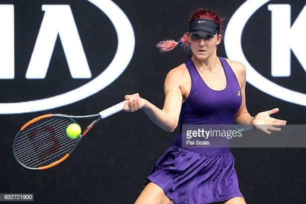 Rebeka Masarova of Switzerland plays a forehand in her Junior Girls Singles Quarterfinal match against Mai Hontama of Japan during the Australian...