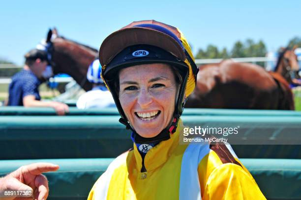 Rebeka Prest after winning the Kevin Hicks Real Estate Maiden Plate at Tatura Racecourse on December 10 2017 in Tatura Australia