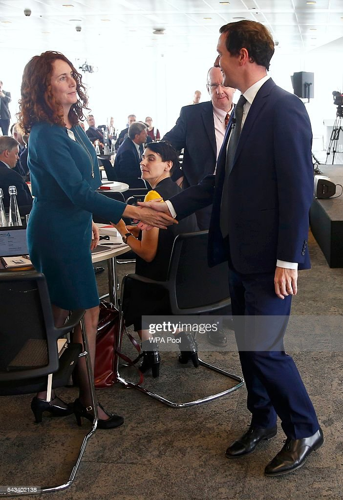 Rebekah Brooks (L), CEO of News UK, and Britain's Chancellor of the Exchequer, <a gi-track='captionPersonalityLinkClicked' href=/galleries/search?phrase=George+Osborne&family=editorial&specificpeople=5544226 ng-click='$event.stopPropagation()'>George Osborne</a>, shake hands at The Times CEO summit on June 28, 2016 in London, England.