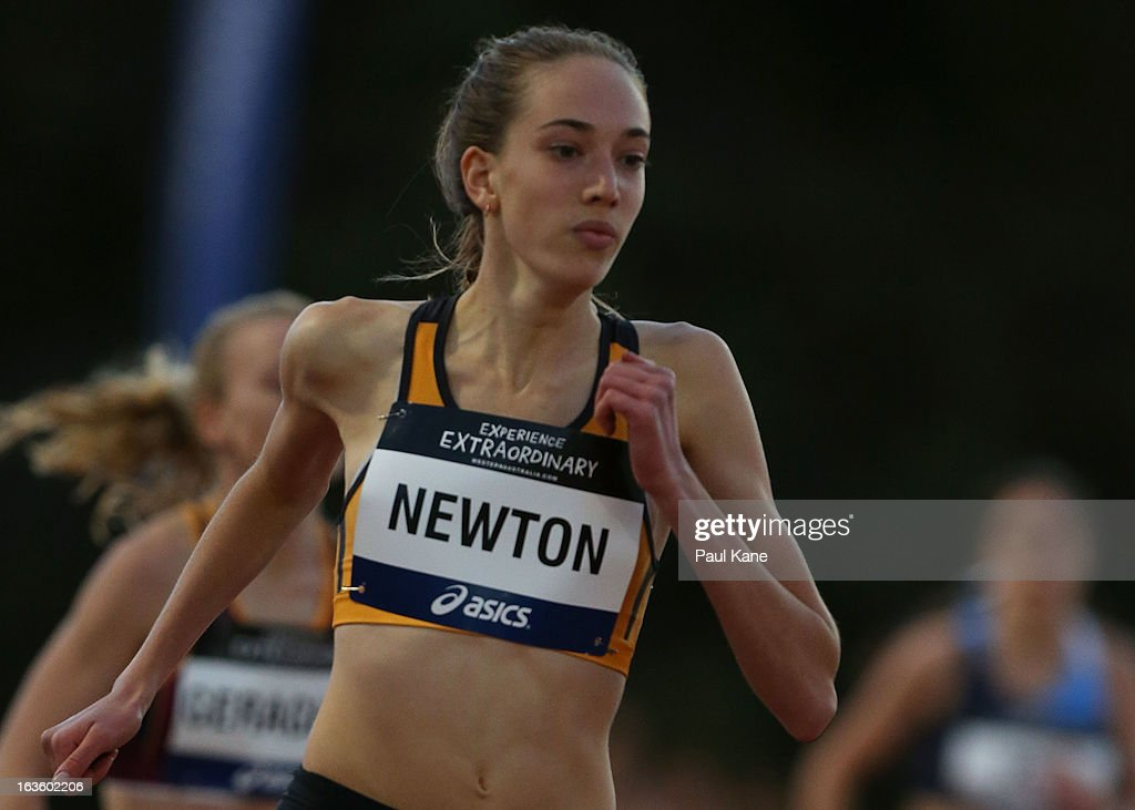 Rebekah Newton of Western Australia compete in the women's u18 400 metre final during day two of the Australian Junior Championships at the WA Athletics Stadium on March 13, 2013 in Perth, Australia.