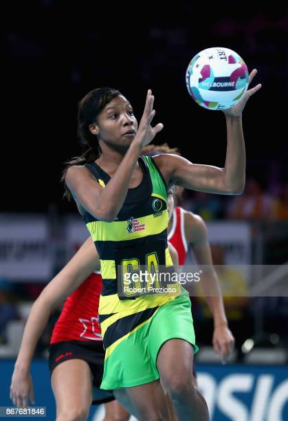 Rebekah Robinson of Jamaica gathers the ball during the Fast5 World Series Netball match between Jamaica and England at Hisense Arena on October 29...