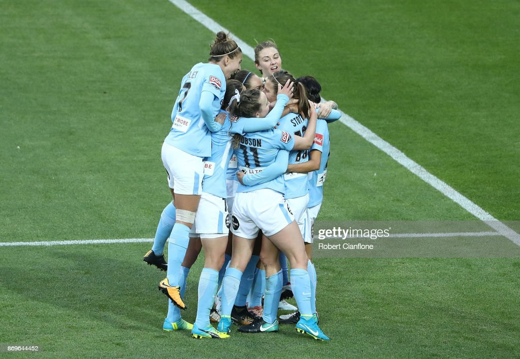 Rebekah Stott of Melbourne City celebrates after scoring a goal during the round two W-League match between Melbourne City FC and Melbourne Victory at AAMI Park on November 3, 2017 in Melbourne, Australia.