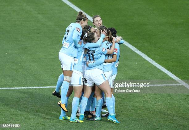 Rebekah Stott of Melbourne City celebrates after scoring a goal during the round two WLeague match between Melbourne City FC and Melbourne Victory at...