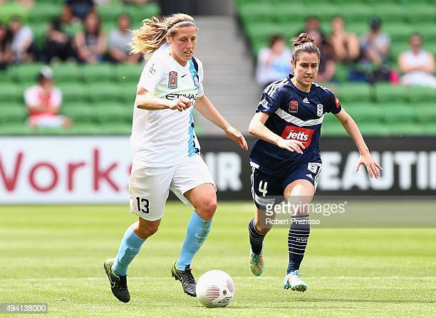 Rebekah Stott of Melbourne City controls the ball during the round two WLeague match between Melbourne City FC and Melbourne Victory at AAMI Park on...