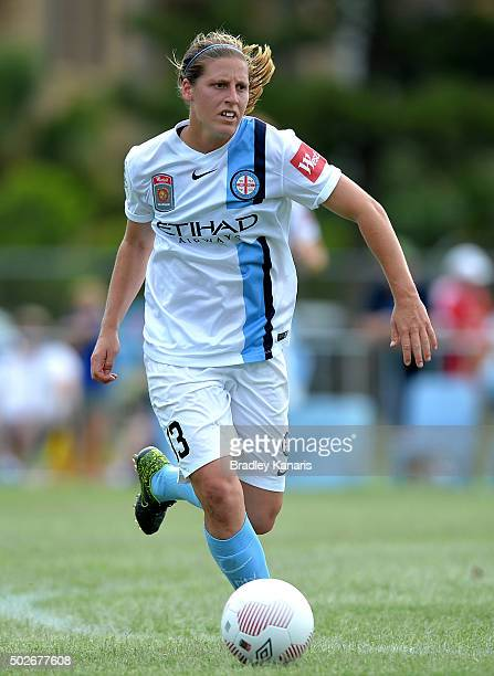 Rebekah Stott of Melbourne City in action during the round 11 WLeague match between Brisbane Roar and Melbourne City FC at the Broadbeach Soccer Club...