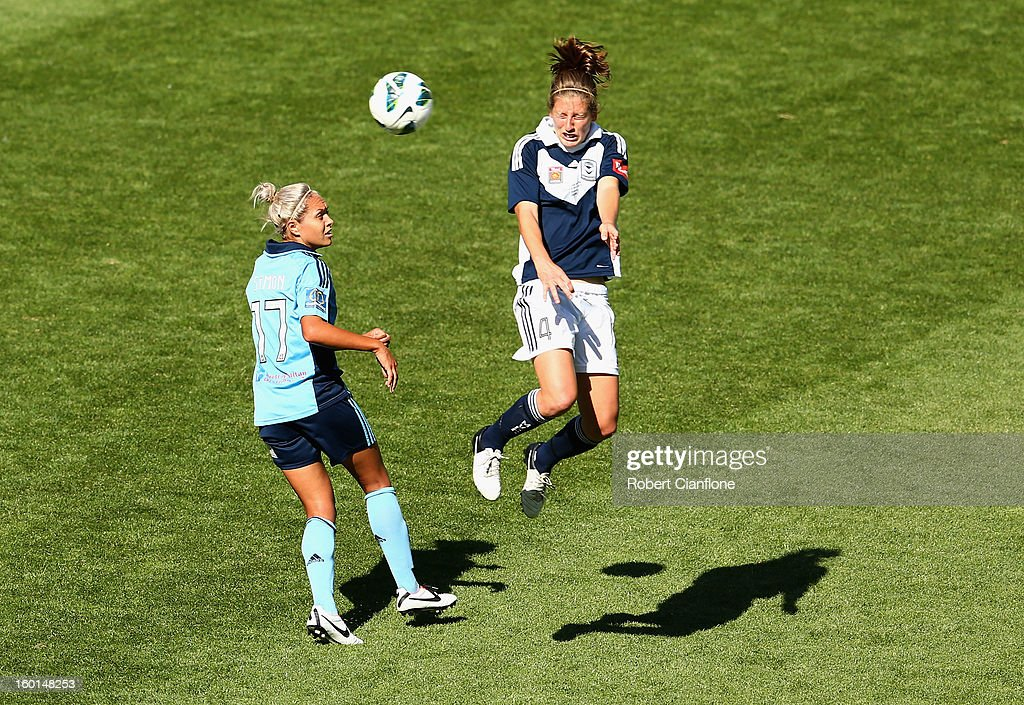 Rebekah Stott of the Victory heads the ball asway from during the W-League Grand Final between the Melbourne Victory and Sydney FC at AAMI Park on January 27, 2013 in Melbourne, Australia.