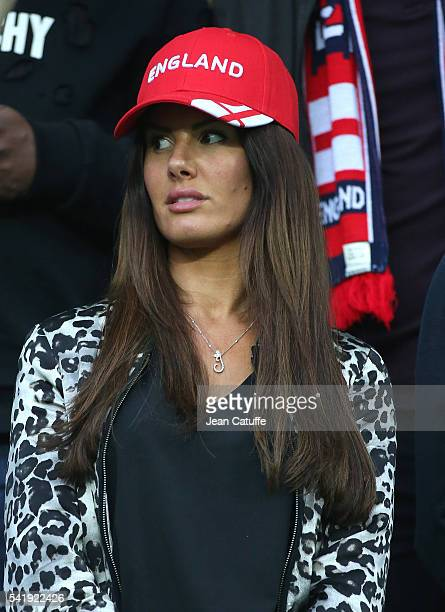 Rebekah Vardy wife of Jamie Vardy of England attends the UEFA EURO 2016 Group B match between Slovakia and England at Stade GeoffroyGuichard on June...