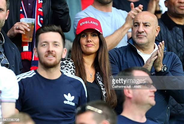 Rebekah Vardy wife of Jamie Vardy of England during the UEFA EURO 2016 Group B match between Slovakia v England at Stade GeoffroyGuichard on June 20...