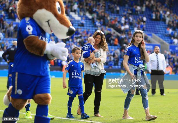 Rebekah Vardy wife of Jamie Vardy on the pitch after the Premier League match at the King Power Stadium Leicester