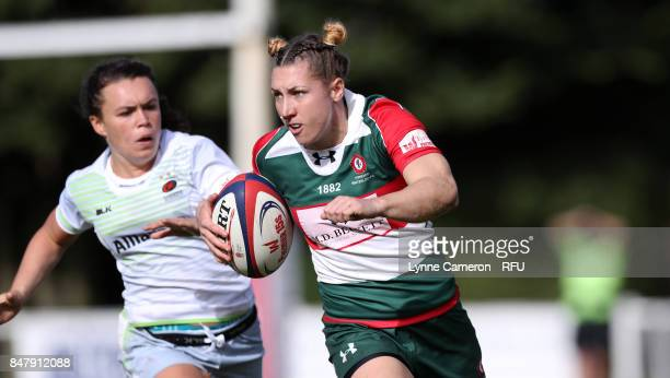 Rebekah Wilson of Firwood Waterloo Ladies makes a run during the Tyrrells Premier 15 at The Memorial Ground on September 16 2017 in Liverpool England