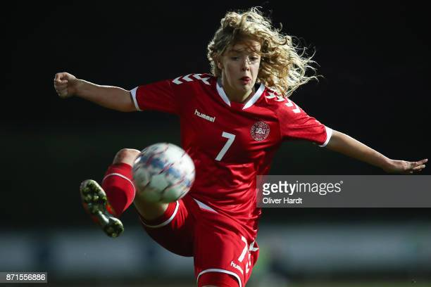 Rebekka Frost of Denmark in action during the U16 Girls international friendly match betwwen Denmark and Germany at the Skive Stadion on November 6...