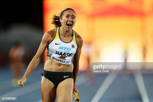 Rebekka Haase of Germany celebrates as she crosses the finishline to place first in the Women's 4x100 Metres Relay Final during the IAAF/BTC World...