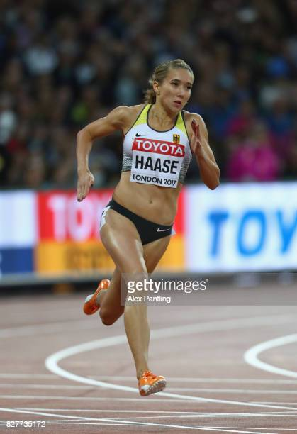 Rebekka Haase of Germany competes in the Women's 200 metres heats during day five of the 16th IAAF World Athletics Championships London 2017 at The...