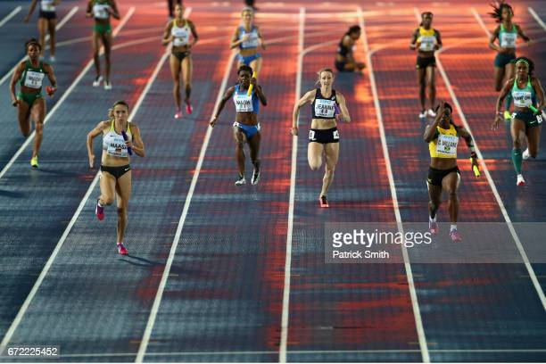 Rebekka Haase of Germany leads the race in the Women's 4x100 Metres Relay heat during the IAAF/BTC World Relays Bahamas 2017 at Thomas Robinson...