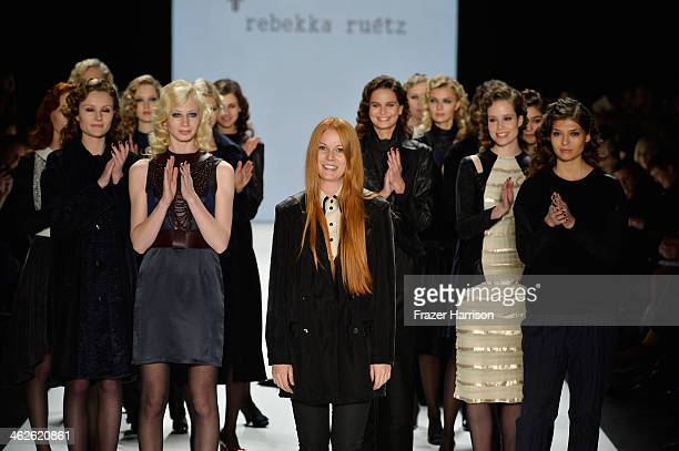 Rebekka Ruetz and models walk the runway after the Rebekka Ruetz show during MercedesBenz Fashion Week Autumn/Winter 2014/15 at Brandenburg Gate on...