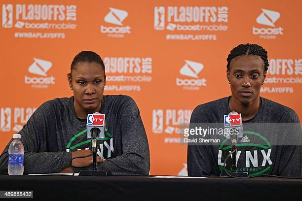 Rebekkah Brunson and Sylvia Fowles of the Minnesota Lynx talk to the media after Game One of the WNBA Western Conference Finals against the Phoenix...