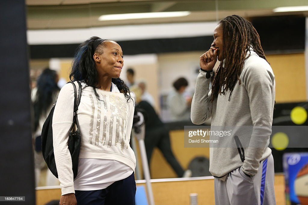 <a gi-track='captionPersonalityLinkClicked' href=/galleries/search?phrase=Rebekkah+Brunson&family=editorial&specificpeople=213521 ng-click='$event.stopPropagation()'>Rebekkah Brunson</a> of the Minnesota Lynx and <a gi-track='captionPersonalityLinkClicked' href=/galleries/search?phrase=Le%27Coe+Willingham&family=editorial&specificpeople=574957 ng-click='$event.stopPropagation()'>Le'Coe Willingham</a> of the Atlanta Dream share a laugh during media availability during the 2013 WNBA Finals on October 7, 2013 at Target Center in Minneapolis, Minnesota.