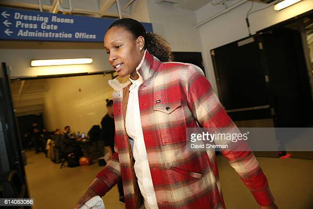Rebekkah Brunson of the Minnesota Lynx arrives before the game against the Los Angeles Sparks during Game Two of the 2016 WNBA Finals on October 11...