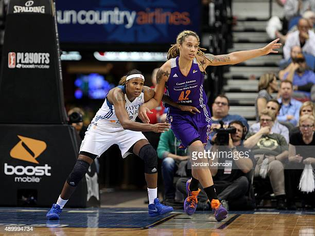Rebekkah Brunson of the Minnesota Lynx defends against Brittney Griner of the Phoenix Mercury during Game One of the WNBA Western Conference Finals...