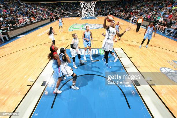 Rebekkah Brunson of the Minnesota Lynx grabs a rebound against the Atlanta Dream during the WNBA game on July 22 2014 at Target Center in Minneapolis...
