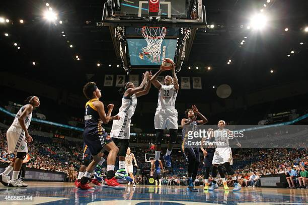 Rebekkah Brunson of the Minnesota Lynx grabs the rebound against the Indiana Fever on September 4 2015 at Target Center in Minneapolis Minnesota NOTE...