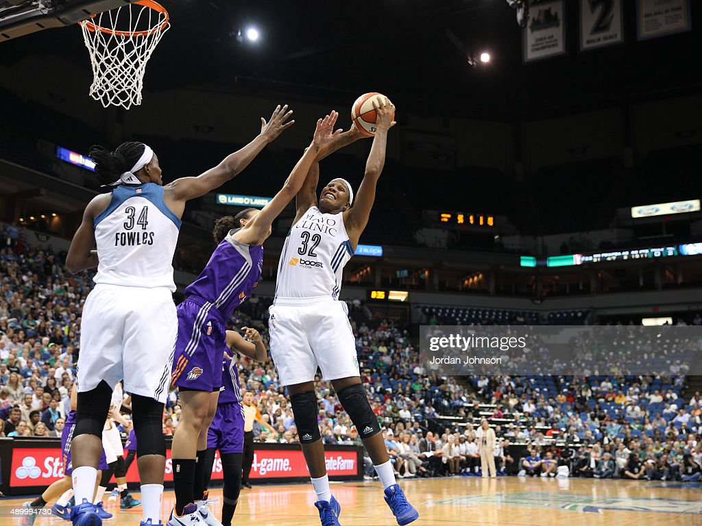 Rebekkah Brunson of the Minnesota Lynx grabs the rebound against the Phoenix Mercury during Game One of the WNBA Western Conference Finals on...