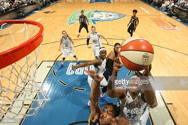 Rebekkah Brunson of the Minnesota Lynx grabs the rebound against the Indiana Fever during Game Five of the 2015 WNBA Finals on October 14 2015 at...