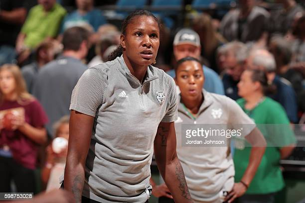 Rebekkah Brunson of the Minnesota Lynx looks on before the game against the Washington Mystics on September 2 2016 at Target Center in Minneapolis...