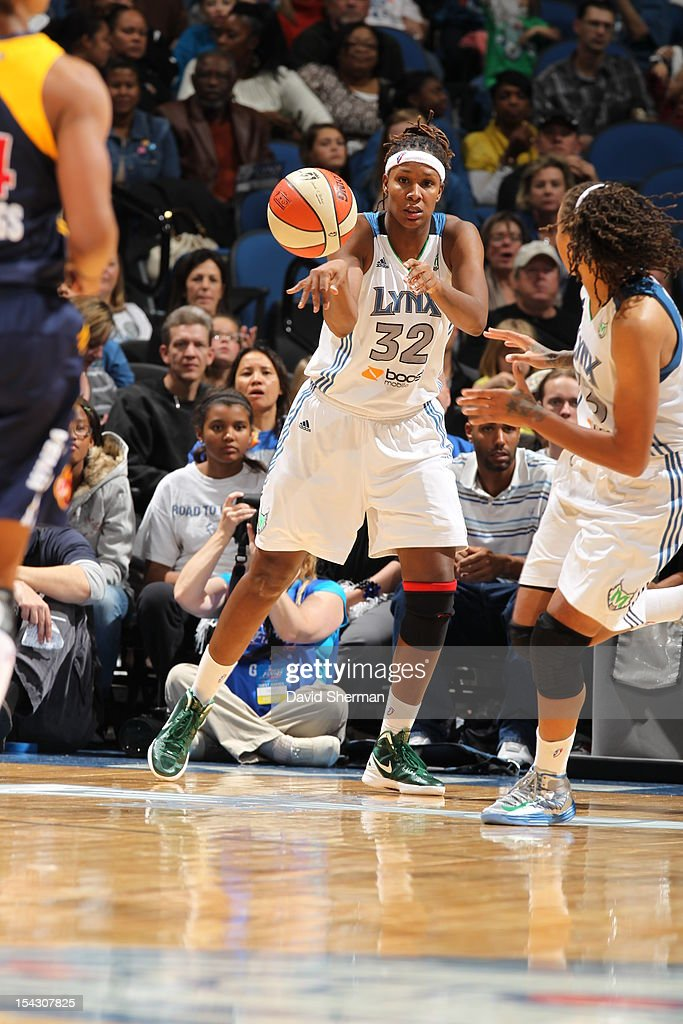 Rebekkah Brunson #32 of the Minnesota Lynx looks to pass the ball to Seimone Augustus #33 of the Minnesota Lynx during the 2012 WNBA Finals Game Two against Indiana Fever on October 17, 2012 at Target Center in Minneapolis, Minnesota.