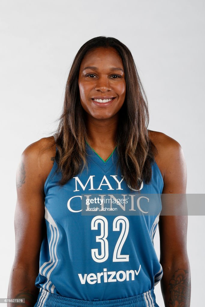 Rebekkah Brunson #32 of the Minnesota Lynx poses for portraits during 2017 Media Day on May 1, 2017 at the Minnesota Timberwolves and Lynx Courts at Mayo Clinic Square in Minneapolis, Minnesota.