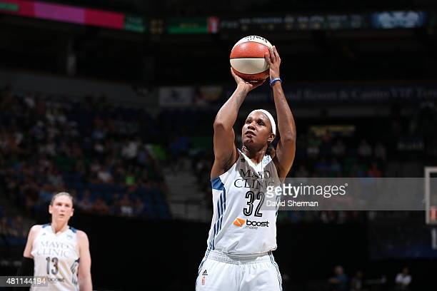 Rebekkah Brunson of the Minnesota Lynx prepares to shoot a free throw against the Chicago Sky on July 17 2015 at Target Center in Minneapolis...