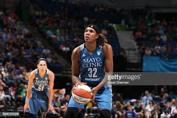 Rebekkah Brunson of the Minnesota Lynx prepares to shoot a free throw against the Connecticut Sun during a WNBA game on September 4 2016 at Target...