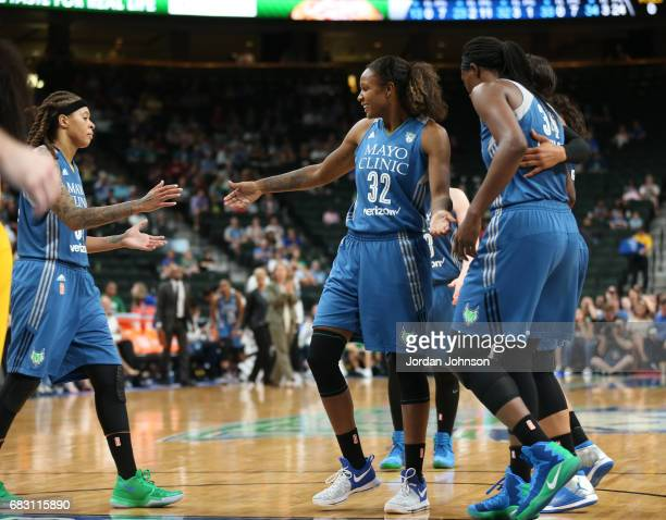 Rebekkah Brunson of the Minnesota Lynx reacts to a play during a game against the Chicago Sky on May 14 2017 at Xcel Energy Center in St Paul...