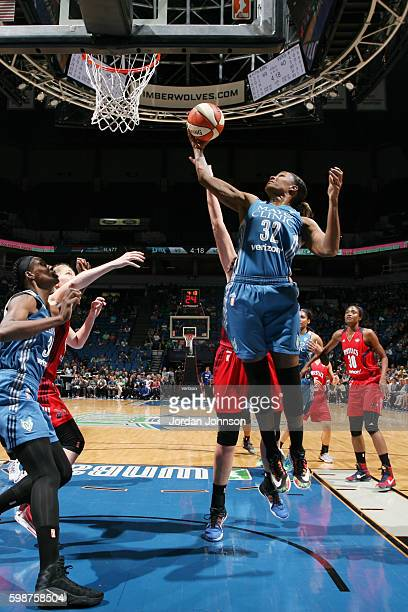 Rebekkah Brunson of the Minnesota Lynx shoots a lay up against the Washington Mystics on September 2 2016 at Target Center in Minneapolis Minnesota...