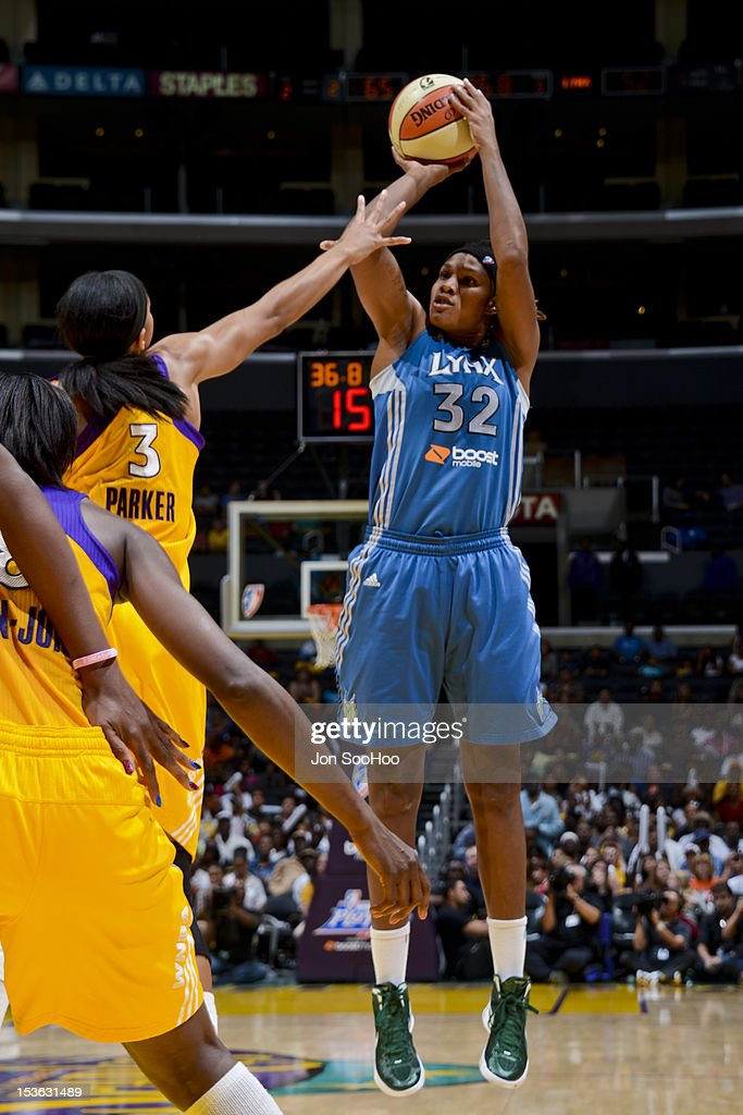 Rebekkah Brunson #32 of the Minnesota Lynx shoots against Candace Parker #3 of the Los Angeles Sparks during Game Two of the WNBA Western Conference Finals at Staples Center on October 7, 2012 in Los Angeles, California.