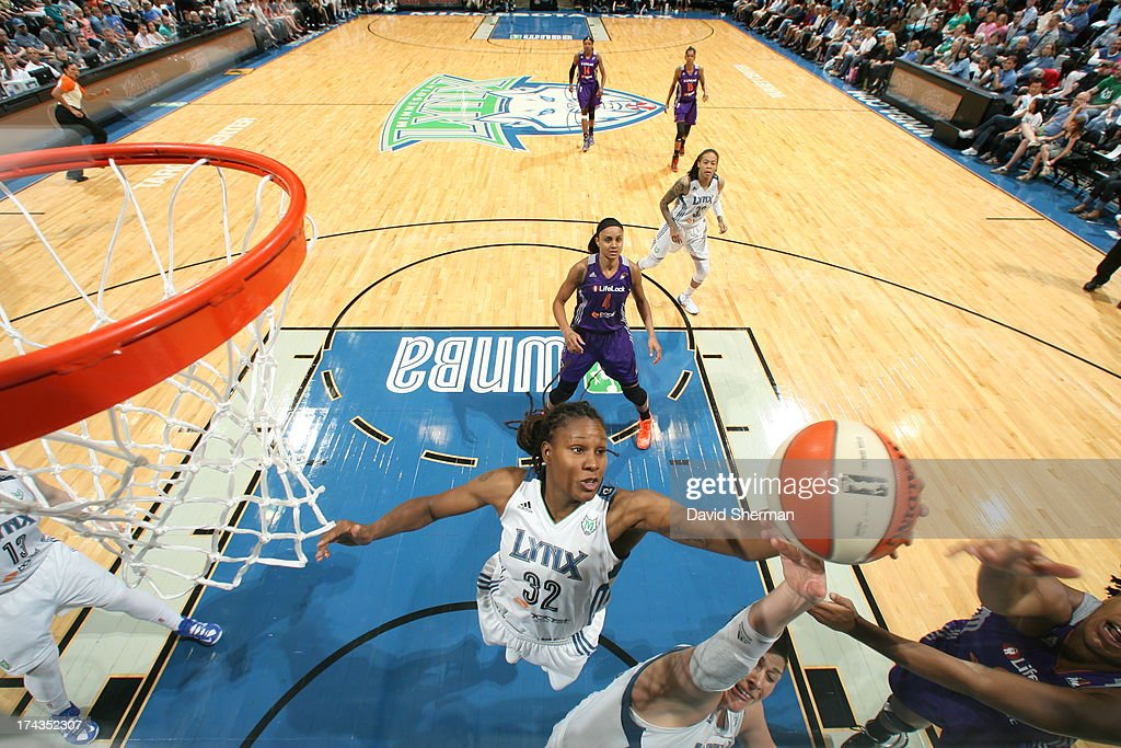 Rebekkah Brunson #32 of the Minnesota Lynx shoots against the Phoenix Mercury during the WNBA game on July 24, 2013 at Target Center in Minneapolis, Minnesota.