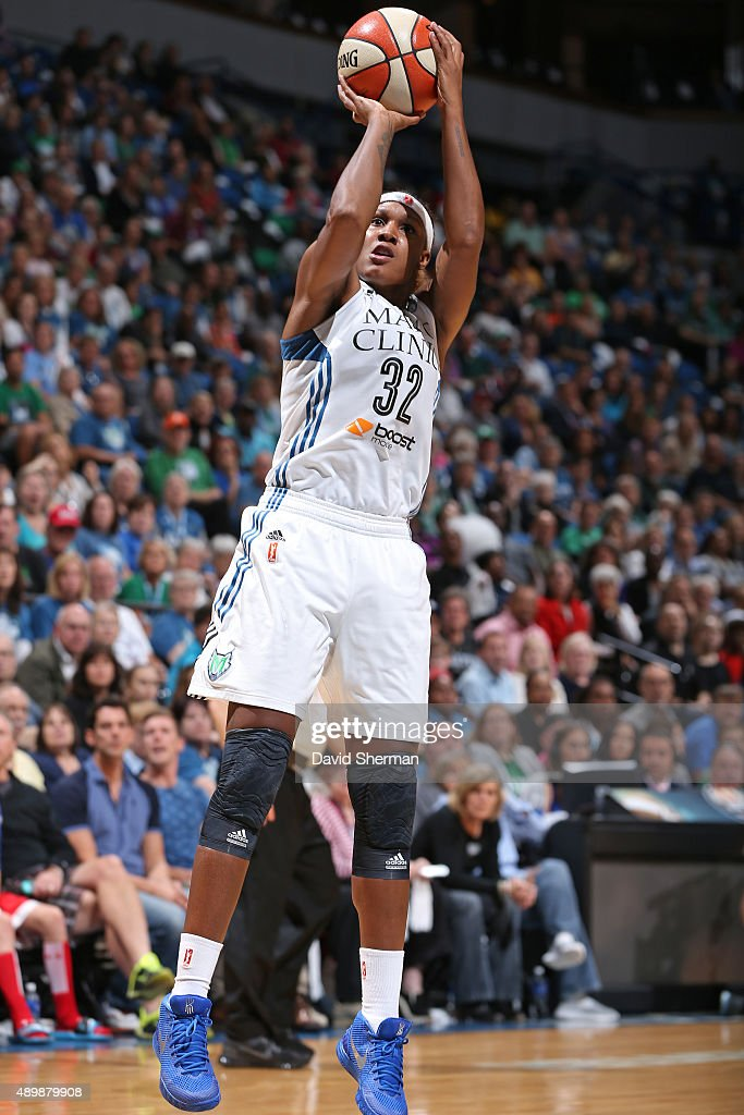 Rebekkah Brunson of the Minnesota Lynx shoots the ball against the Phoenix Mercury during Game One of the WNBA Western Conference Finals on September...