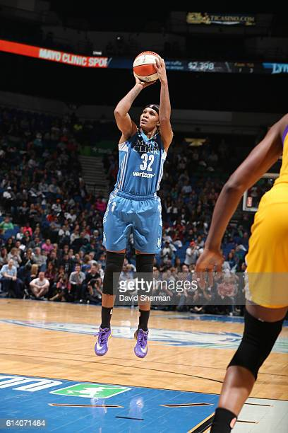 Rebekkah Brunson of the Minnesota Lynx shoots the ball against the Los Angeles Sparks during Game Two of the 2016 WNBA Finals on October 11 2016 at...