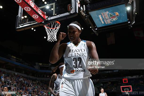 Rebekkah Brunson of the Minnesota Lynx shows emotion against the Tulsa Shock during the season opener of their WNBA game on June 5 2015 at Target...