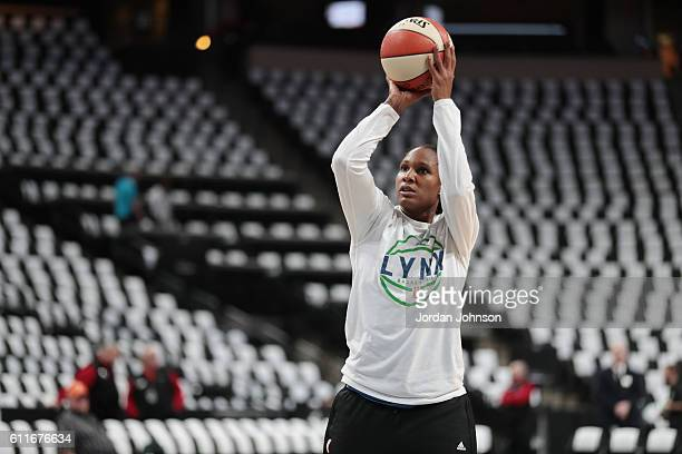 Rebekkah Brunson of the Minnesota Lynx warms up before the game against the Phoenix Mercury in Game Two of the Semifinals during the 2016 WNBA...