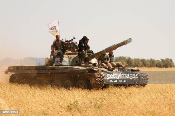 Rebel forces from Jaysh alIslam hold a position on August 24 2015 near the frontline in the alZahra area on the northwestern outskirts of Aleppo...