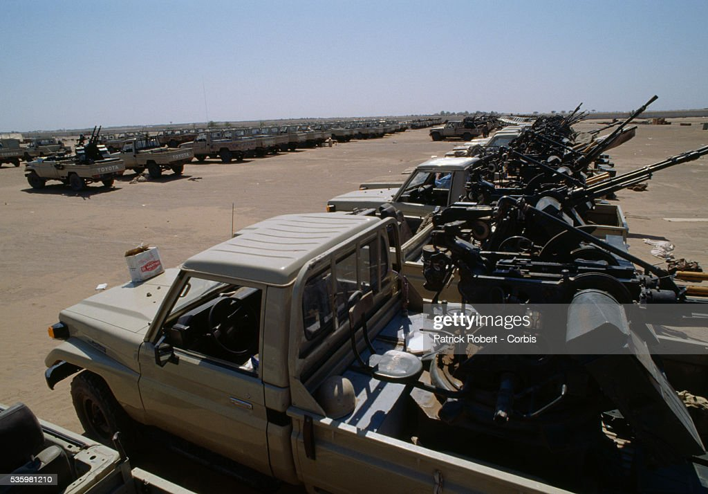 Rebel soldiers with the Forces Armées Nationales Chadiennes (FANT), or National Army of Chad, seize Libyan weapons and military jeeps in Am' Simene camp, a former CIA training camp for Lybian prisoners. Lead by Chadian Chief of Staff Idriss Deby, the FANT rebellion seized power from head of state Hissen Habre in a French- and Libyan-backed military coup. Deby later won the first multi-party Chadian presidential vote in 1996.