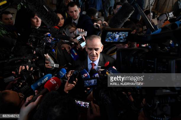 Rebel spokesman Yehya alAridi speaks to the media during the second day of Syria peace talks at Astana's Rixos President Hotel on January 24 2017 /...