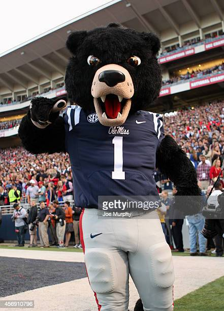 Rebel The Black Bear mascot of the Ole Miss Rebels during a game against the Alabama Crimson Tide on October 4 2014 at VaughtHemingway Stadium in...