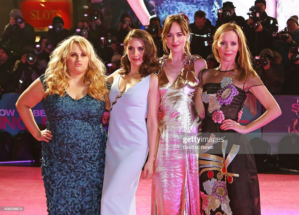 <a gi-track='captionPersonalityLinkClicked' href=/galleries/search?phrase=Rebel+Wilson&family=editorial&specificpeople=5563104 ng-click='$event.stopPropagation()'>Rebel Wilson</a>, <a gi-track='captionPersonalityLinkClicked' href=/galleries/search?phrase=Alison+Brie&family=editorial&specificpeople=5447578 ng-click='$event.stopPropagation()'>Alison Brie</a>, <a gi-track='captionPersonalityLinkClicked' href=/galleries/search?phrase=Dakota+Johnson&family=editorial&specificpeople=2091563 ng-click='$event.stopPropagation()'>Dakota Johnson</a> and <a gi-track='captionPersonalityLinkClicked' href=/galleries/search?phrase=Leslie+Mann&family=editorial&specificpeople=595973 ng-click='$event.stopPropagation()'>Leslie Mann</a> attend the UK Premiere of 'How To Be Single' at Vue West End on February 9, 2016 in London, England.