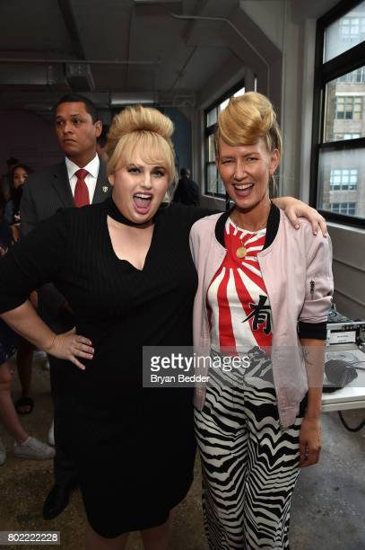 Rebel Wilson and DJ Bonnie pose for a photo together at the REBEL WILSON X ANGELS Collection Launch Party at DiaCo on June 27 2017 in New York City