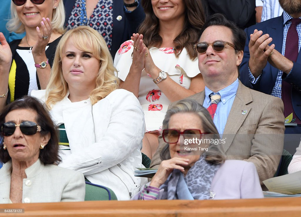 <a gi-track='captionPersonalityLinkClicked' href=/galleries/search?phrase=Rebel+Wilson&family=editorial&specificpeople=5563104 ng-click='$event.stopPropagation()'>Rebel Wilson</a> and Gordon Greenberg attend day one of the Wimbledon Tennis Championships at Wimbledon on June 27, 2016 in London, England.